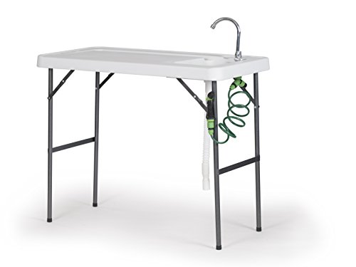 Old Cedar Outfitters Fish Fillet and Cleaning Table or Portable Folding Gardening Table with Sink, Drain, Faucet and Spray Cleaner, 45.1