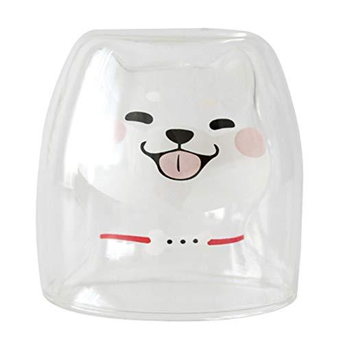 Shiba Inu Dog Double Wall Glass Coffee Cup (7.4 oz), Espresso Latte Cappuccino Mug, Insulated Borosilicate Glass for Tea Coffee (White)