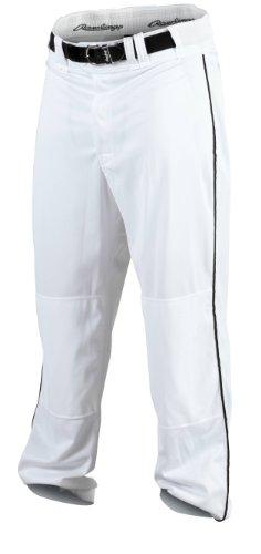 RAWLINGS Jugend Premium Baseball/Softball semi-Relaxed Passform Paspel Hose, Jungen Mädchen, YPRO150P-W/B-91, weiß/schwarz, XL