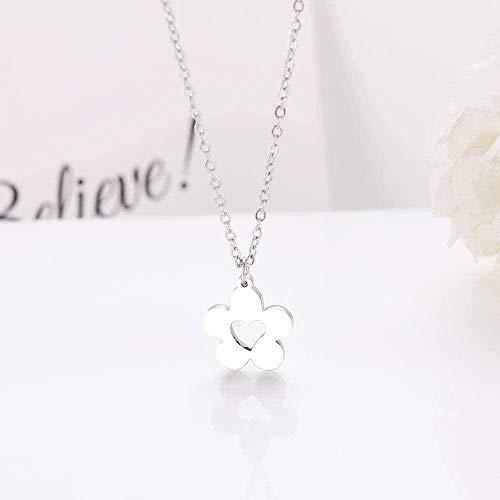 Collar Collar de moda s Romántico y romántico Colgante de flor de acero Pulseras de joyería de oro y plata - Collar de colgante de moda de plata Regalo para hombres Mujeres Niñas Niños
