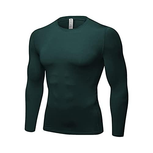 YUEMO Camiseta de compresión de manga larga para hombre, con base de compresión, para correr, gimnasio, entrenamiento, verde oscuro, XXL