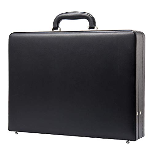 Hard Attache Briefcases for Men & Women/Bonded Leather Slim Hard-sided Laptop Cases with Combination Locks - Black