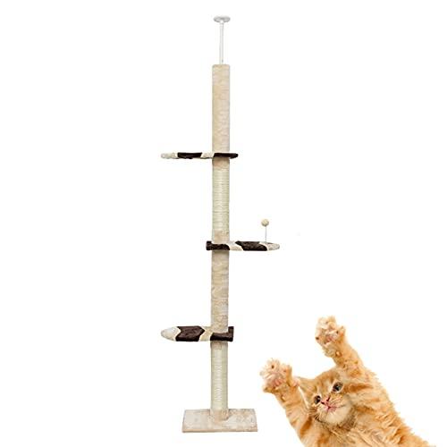DUTUI Torre per Gatti Tiragraffi su Piattaforma A 4 Piani, Tiragraffi Naturale con Pilastri Ricoperti di Sisal, Grande Centro attività per Gatti,Giallo