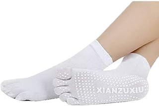 Mujeres Antideslizantes Calcetines de Cinco Dedos Yoga Gimnasia Deporte Ejercicio Masaje Fitness Calcetines Calientes Blanco