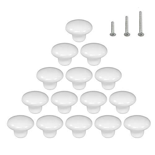15PCS White Glossy Ceramic Knobs Button Round Mushroom Cabinet Dresser Vintage Pulls Door Handles Cupboard Wardrobe Drawer, Dia. 1.5 inch 38mm