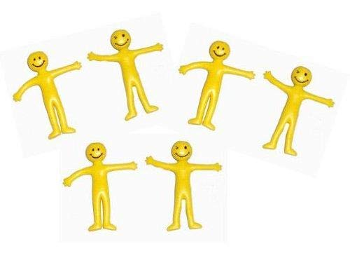 6 Figurines Souriantes Assorties Élastique Extensible