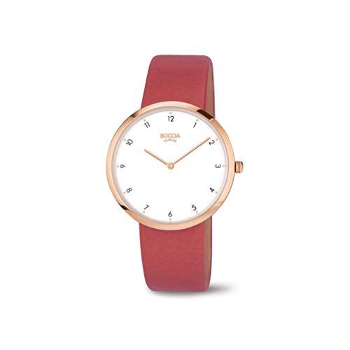 Boccia Damen Analoger Quarz Uhr mit Echtes Leder Armband 3309-05