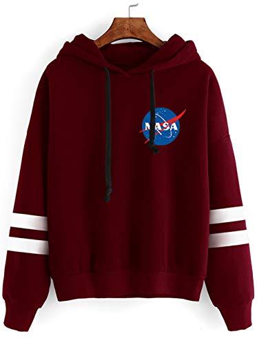 Haosheng Donna Felpa NASA Stampato Galaxy Planet Manica Lunga Sweatshirt Adatto per Gli Appassionati di Spazio(XS)