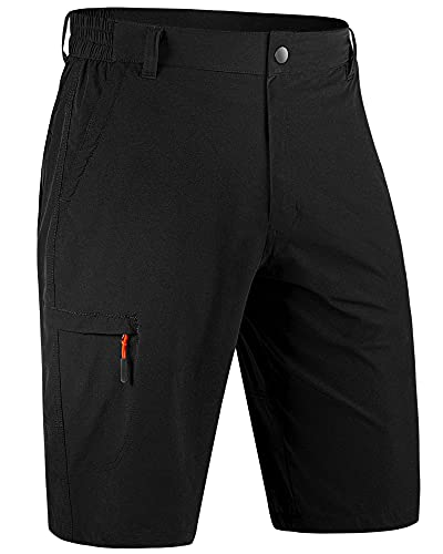 cimkiz Men's Hiking Cargo Shorts Stretch Quick Dry Big and Tall Golf Workout Shorts for Men Casual Fishing Athletic Shorts with Pockets Plus Size Black