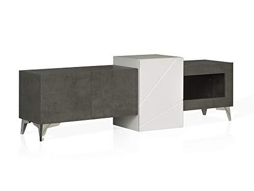 moebel-eins JAKOBA TV-Lowboard, Material MDF, betonfarbig dunkelgrau/Weiss