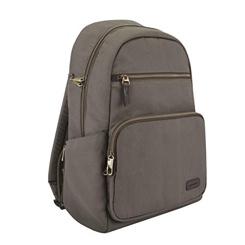 Travelon Anti-Theft Courier Slim Backpack, Stone Gray, 14 x 17 x 3