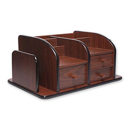 ZHJDX Portapenne -Wooden da scrivania, Penna Multifunzionale della Scatola del Supporto, Desktop Fermo, Studio di Alimentazione Rack di stoccaggio con