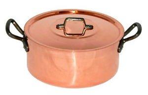 "Baumalu 9.5"" 24cm 5qt Copper Casserole + Lid Dutch Oven FRANCE"