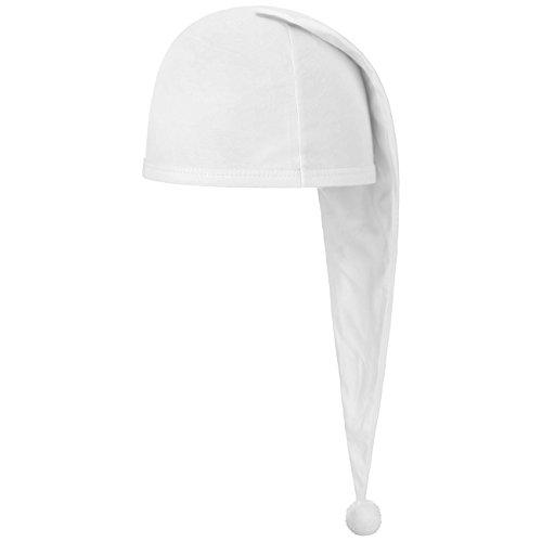 Lipodo Schlafmütze weiß (56 cm lang) - Damen und Herren - Nachthaube aus Baumwolle - Bommelmütze One Size (53-60 cm) - Nachtmütze mit Bommel - Zipfelmütze zum Schlafen für die Nacht