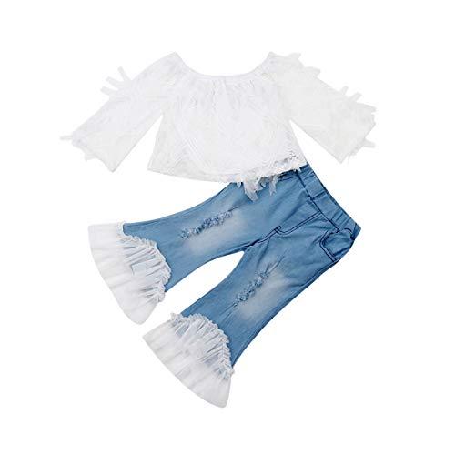2 STKS Baby Meisje Herfst Kleding Set,Kids Off Schouder Tube-Top/Ruche T-Shirt+Flare Lange Broek Casual Kleding