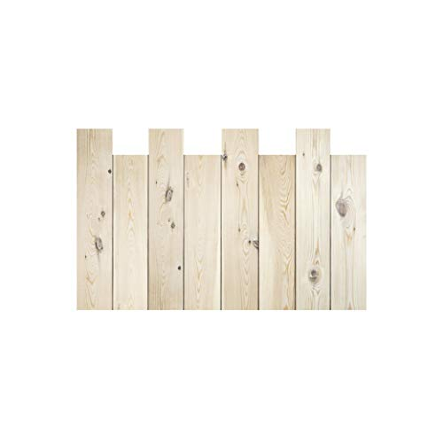 Decowood - Cabecero para Cama Dormitorio, Lamas Verticales Asimétricas, Madera de Pino Natural - 160 x 80 cm