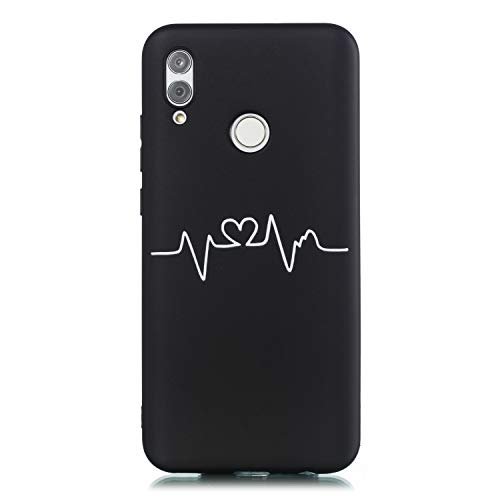 Yobby Hülle für Huawei Honor 10 Lite/P Smart 2019,Ultra Slim Weich Schwarz Silikon Handyhülle mit Herzschlag,Lustig Motive Cool Elegant Flexibel Gummi Gel Schutzhülle