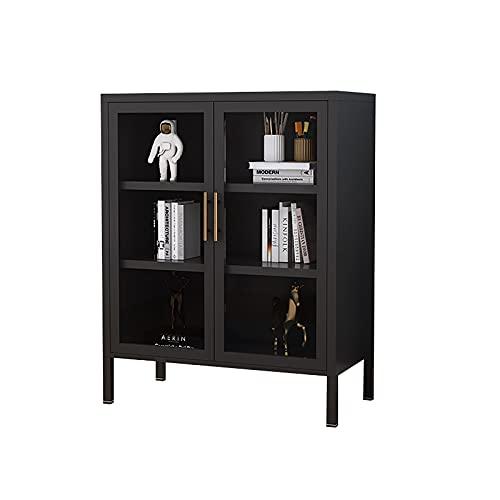 GPAIHOMRY Aparador ligero de lujo, de metal, con estantes ajustables y puerta de cristal, gran espacio de almacenamiento, 80 x 40 x 101,5 cm, color blanco y negro a elegir