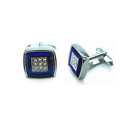 SWXCufflinks Gemelos de Cristal Diamond Diamond Crystal Business, Camisa Francesa de Negocios, de Cristal Transparente Diamond Diamond Crystal Cuff Cuadrado, Azul