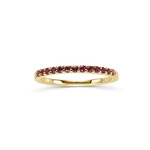 14K Yellow Gold 1/4 Cttw Genuine Ruby Stackable 2MM Wedding Anniversary Band Ring - July Birthstone, Size 9