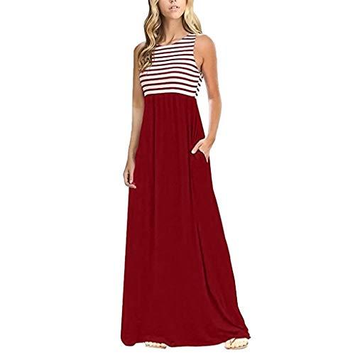 Zegeey Damen Kleid Sommer Kurzarm Schulterfrei Einfarbig Blumenkleid Maxi Kleid A-Linie Kleider Vintage Elegant LäSsige Kleidung Rundhals Basic Casual Strandkleider(X1-rot,M)