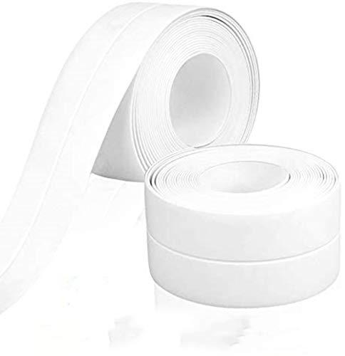 2 Rollen Dichtungsband, selbstklebendes, schimmelfestes Klebeband für die Badewanne, Küche, Waschbecken und Badezimmerwand (3,8 cm * 3,2 m, weiß)