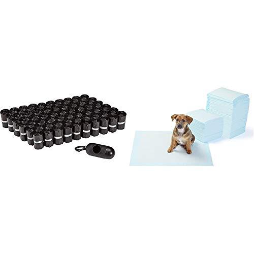 Oferta de Amazon Basics - Bolsas para excrementos de Perro con dispensador y Clip para Correa (900 Bolsas) + - Toallitas de Entrenamiento para Mascotas (tamaño Regular, 150 Unidades)