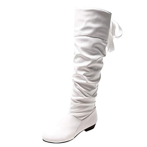 ZODOF Zapatos de mujer Botines Zapatos de mujer tacones altos Botas de mujer sobre la rodilla Señoras Otoño invierno Moda Tramo Faux Delgado Alto Botas(Blanco,38 EU)