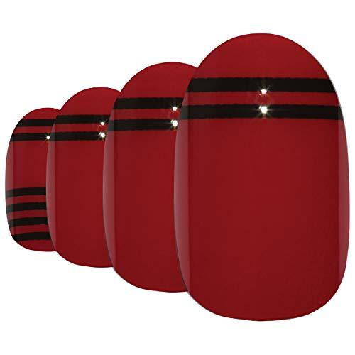 Faux Ongles Bling Art Rouge Noir Glossy Ovale 24 Moyen Faux bouts d'ongles acrylique avec colle
