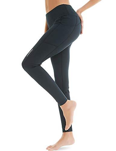 COOLOMG Damen Shorts Leggings Caprihose Yoga Sport Training Fitness mit Taschen ,Schwarz (lang),M