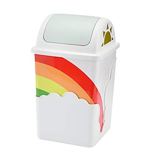 ZRJ Mülleimer küche Trash Can Bunte Kunststoff-Shake-Abdeckung Kübel Deckel Müllbehälter Badezimmer Powder Room Schlafzimmer Küche Craft Room Kinderzimmer Biomülleimer (Color : Green)