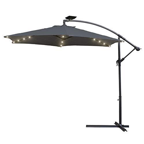 Hengda Alu Ampelschirm Ø350cm mit Solar LED Beleuchtung Sonnenschirm mit Kurbelvorrichtung Höhenverstellbarer, Wasserabweisende Bespannung Kurbelschirm, UV-Schutz 40+