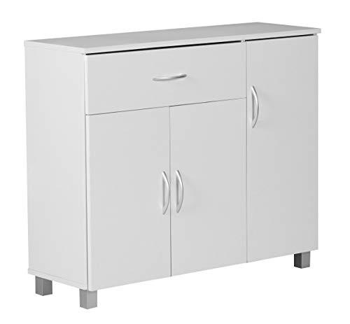 FineBuy Sideboard Jerry 90 x 75 x 30 cm Weiß mit 1 Schublade und 3 Türen | Moderne Schlafzimmer Kommode | Anrichte Esszimmer mit Standfüßen | Flur Schrank Diele klein