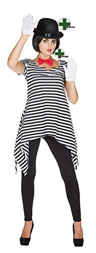 Karneval-Klamotten Pantomime Kostüm Damen Clown Harlekin Kostüm mit Melone und Fliege Ringel Tunika schwarz weiß Größe 40