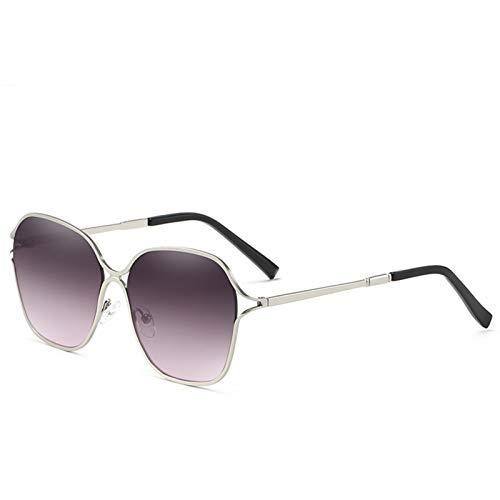 Gafas De Sol De Las Gafas De Sol Gafas De Sol De Acero Inoxidable Hueco Gafas De Sol De Metal Zhenzhiyangshangmao (Size : 2. Dumb Silver Box on Gray Powder C2)