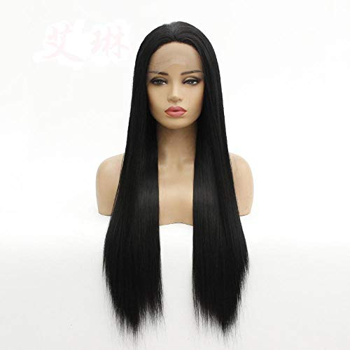 Dames zwarte pruik, lang steil haar, front lace pruik, natuurlijke realistische pruik, cosplay pruik, gebruikt voor prom en party pruiken voor vrouwen