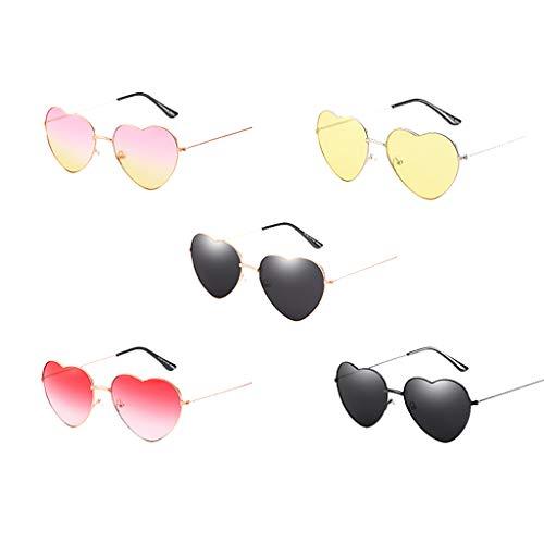 WooCo Herz Sonnenbrillen für Herren und Damen, Liebhaber Unisex Stilvolle Sonnenbrillen, Heißer Persönlichkeit Cool Cute Eyewear Strahlenschutzbrillen Metallrahmen (5 Sonnenbrillen, One Size)