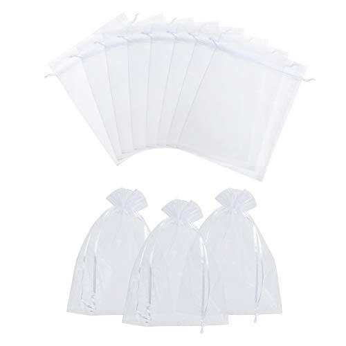 NBEADS Sacchetti di Organza, 100 Pz 15×20cm Centimetri Rettangolo Bianco Sacchetti di Organza per Lo Stoccaggio di Gioielli Regalo Bomboniera Imballaggio di Caramelle