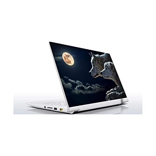 Peach-Girl Laptop Sticker Wolf Moon 10 12 13 14 15.4 15.6 16 17 19 Inches Inc for Macbook Asus Acer HP Lenovo Huawei Dell Msi-10 Inches (25 x 19 cm)