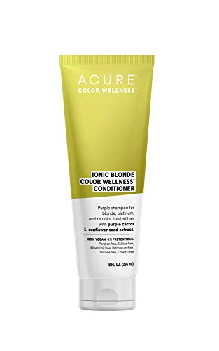 ACURE Ionic Blonde Color Wellness Purple Conditioner   100% Vegan   Performance Driven Hair Care   Purple Carrot & Sunflower Seed Extract - For Blonde, Platinum, Ombre Color Treated Hair   8 Fl Oz