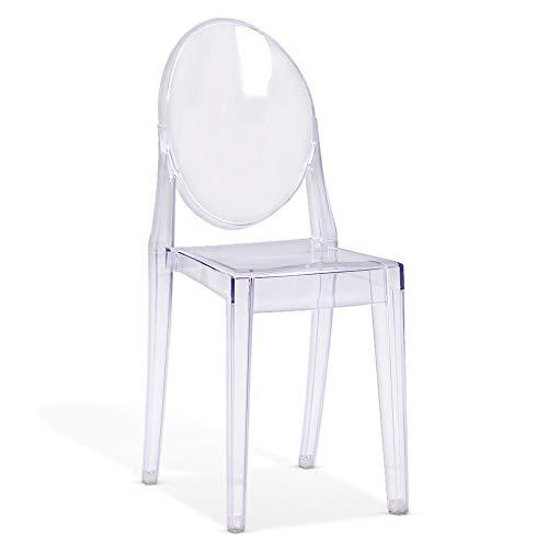 Beautify Transparenter Kunststoffstuhl - Transparenter Schreibtischstuhl Schminktisch Sitz - Vintage Design Schreibtischstuhl