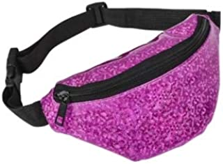 "Sparkly Fanny Pack Bag for Kids, Colorful 8"" Waist Belt for Boys and Girls for Outdoors, Sports, Camping and Trip (Fuschia Pink)"