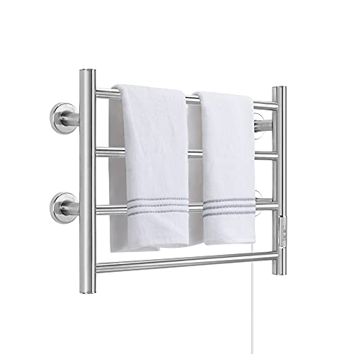 Towel Warmer 4 Bars Wall Mounted Heated Towel Racks for Bathroom Plug-in/Hardwired, Stainless Steel Hot Towel Rack with Timer Brushed Silver