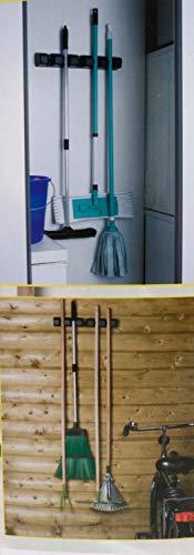 Besen, Schrubber, Mop, Werkzeug Wandhalterung 5 Haken, Besenschrank/Abstellraum/Garten-Haus/Garage, lieferbar in den Farben weiß, blau oder schwarz (Blau)