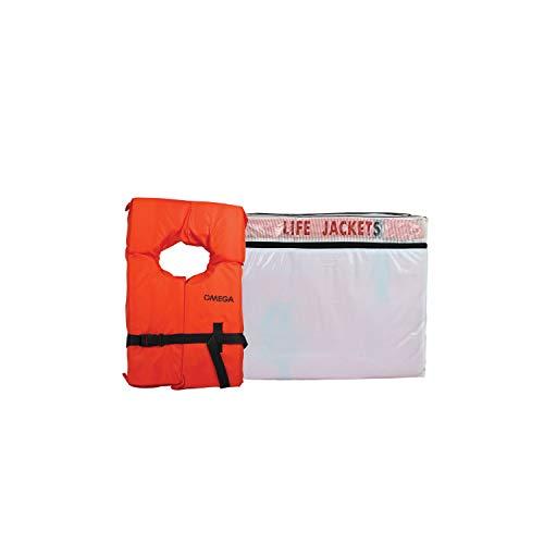 Flowt 40000-UNVPK6 Type II AK-1 Life Jacket, Orange, Adult Universal, Pack of 6 White Storage Bag
