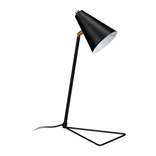 Relaxdays Flexo de escritorio, Base triangular, Pantalla ajustable, E27, Hierro, 47 x 24,5 x 16 cm, Negro