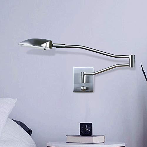ZMH LED Leseleuchte Wandleuchte Bettleuchte mit Dimmer 9W 3000K Warmweiß 360° Bettlampe Flexleuchte Schlafzimmer Wohnzimmer innen Beleuchtung (Silber)