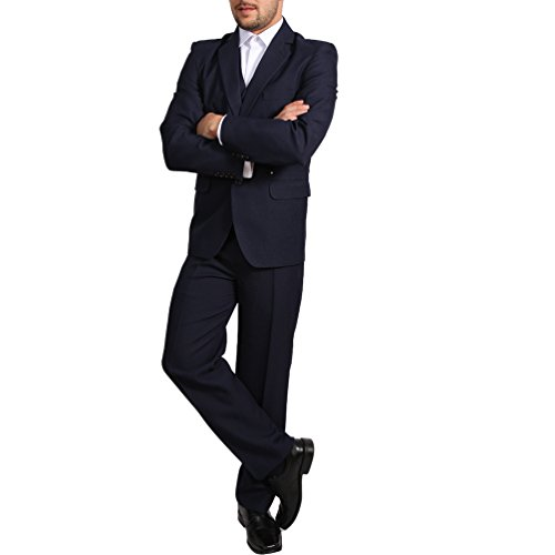 Candygirls Regular Herren Anzug 3Teiler Sakko Hose Weste Büro Business Hochzeit H10 (54, Dunkelblau)