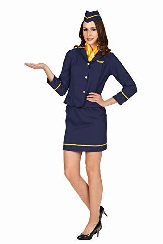Andrea Moden 746-40/42 746-40/42-Kostüm Stewardess, Rock, Oberteil, Tuch, Schiffchen, Flugbegleiterin, Mottoparty, Karneval, Damen, Blau