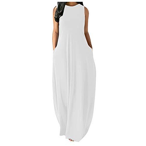 2021 Falda Larga Vestido de Falda Larga con sin Mangas con Cuello en O Informal de Color Puro y Sexy Grande para Mujer,Falda para Danza, Larga, con Vuelo, para Mujer, Casual más tamaño Suelto